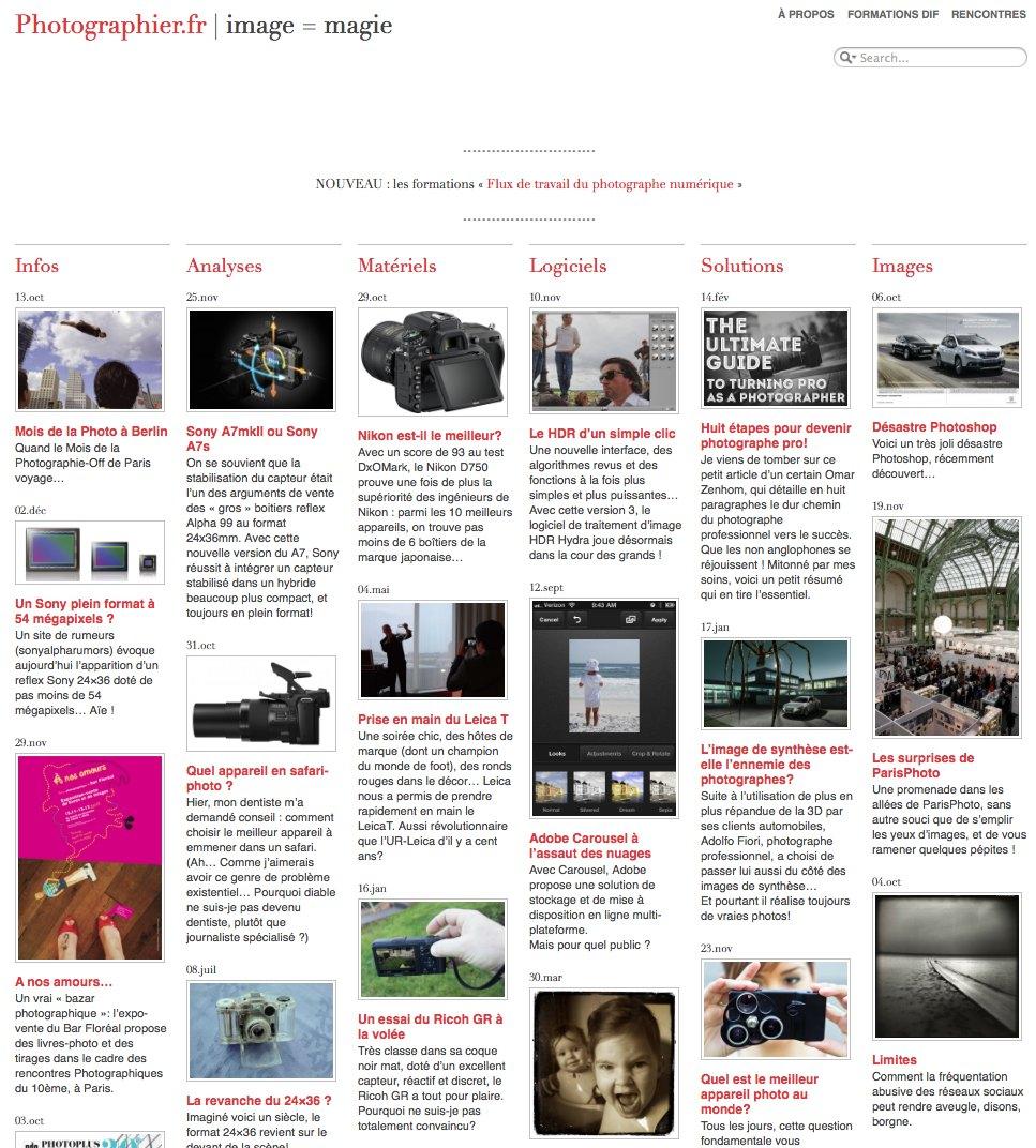 La Une du site Photographier.fr